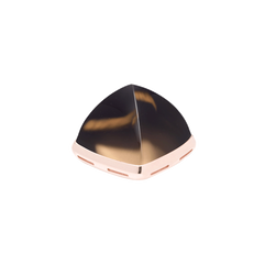 18K玫瑰金底座烟水晶凸圆形宝石