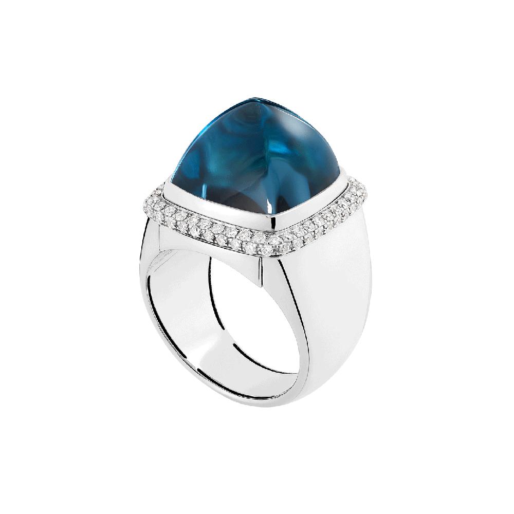 伦敦蓝托帕石 Pain de Sucre系列可替换宝石戒指